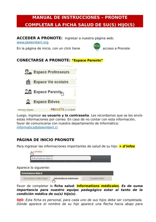 Completar la ficha SALUD en Pronote