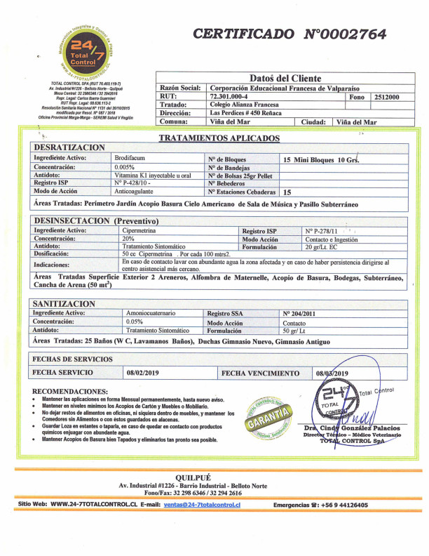 Certificado de Sanitización - Febrero 2019