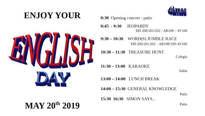 20.05, ENGLISH DAY 2019: DEMANDEZ LE PROGRAMME!