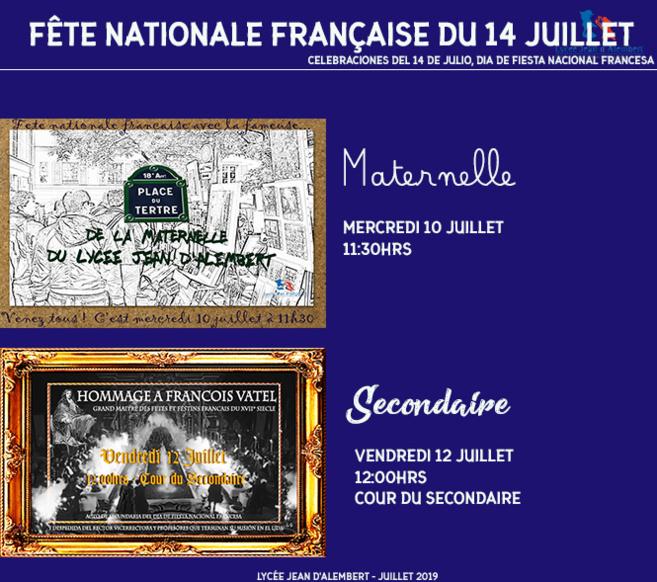 PROGRAMME DES FESTIVITÉS POUR CÉLÉBRER LA FRANCE