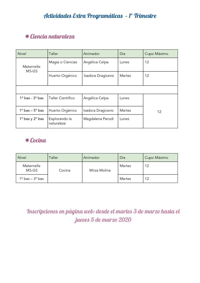 Actividades extra-programáticas 2020