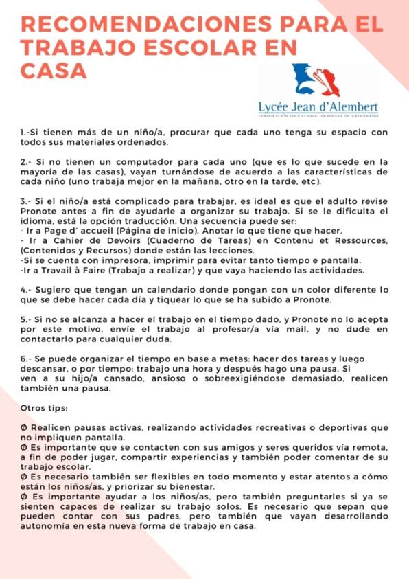 RECOMENDACIONES PARA EL TRABAJO ESCOLAR EN CASA