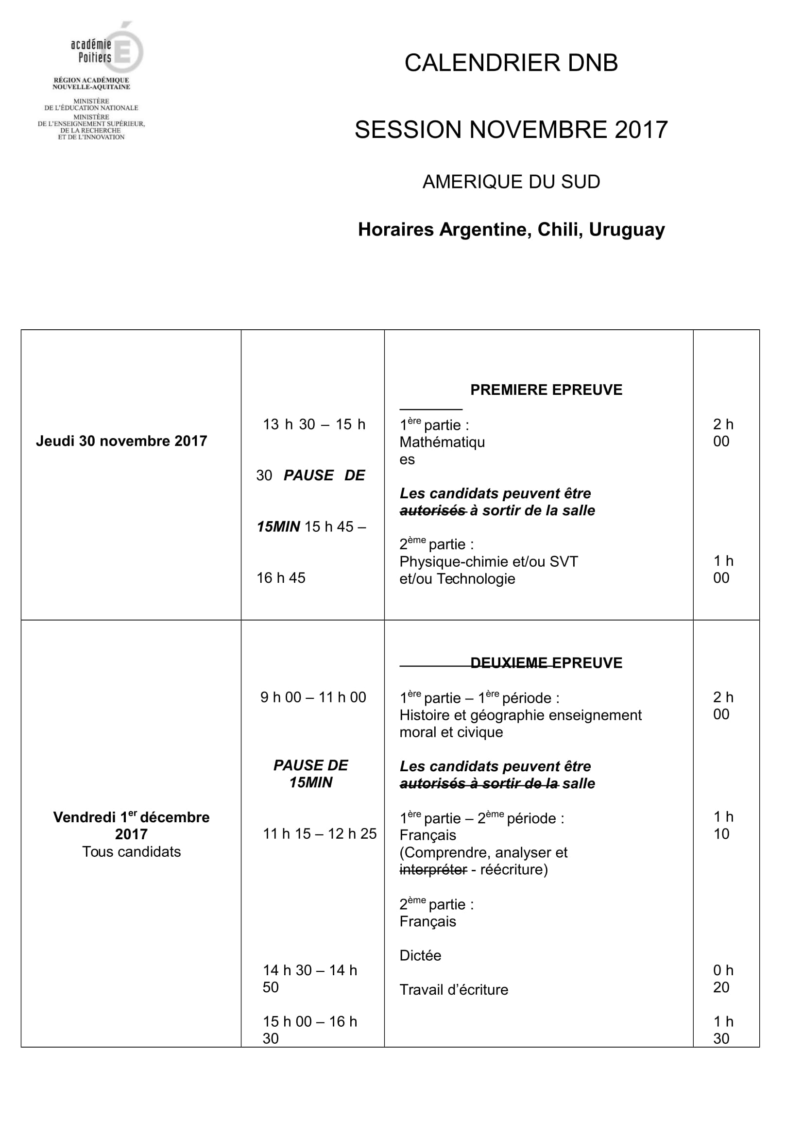 DNB 2017 - CALENDRIER DES ÉPREUVES