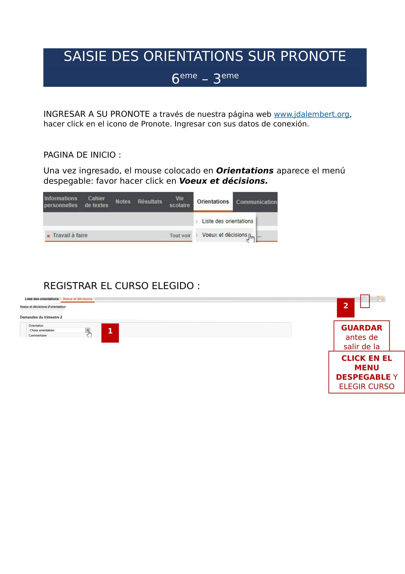 SAISIE DES ORIENTATIONS SUR PRONOTE : NIVEAU 6e-3e