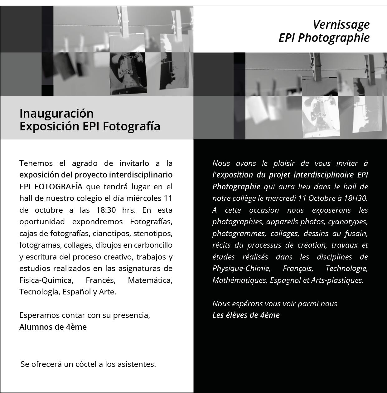 Spéciale invitation des 4èmes: Vernissage EPI Photographie