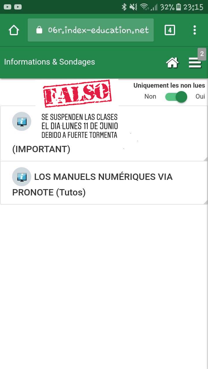 PRECAUCIÓN CON LAS FALSAS INFORMACIONES