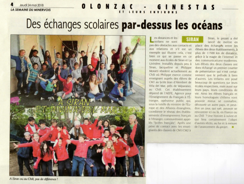 Kilómetros y océanos : correspondencia France/Chile avec les CM1 B