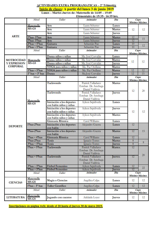 Talleres extra-programáticos 2ndo trimestre 2019 : INSCRIPCIONES A PARTIR 20 DE MAYO