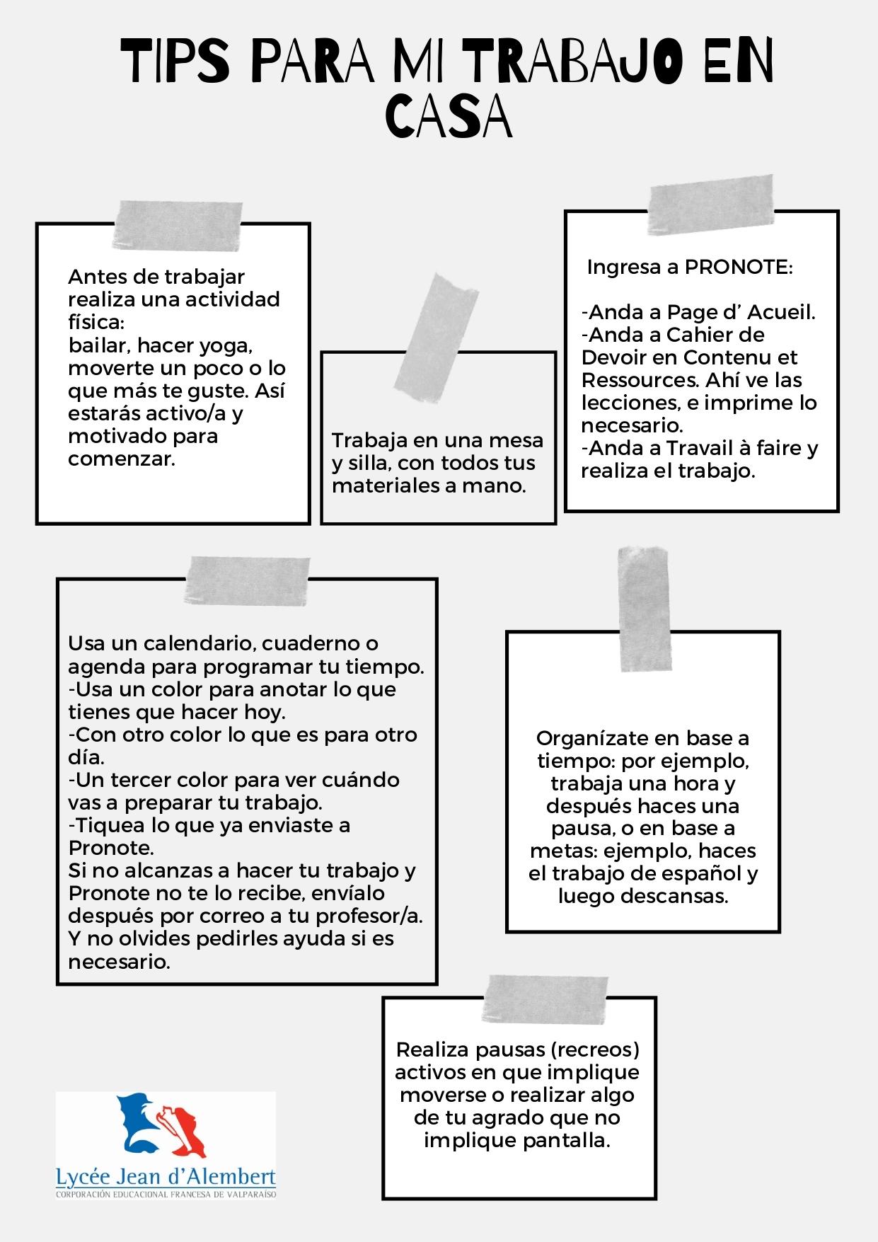 TIPS PARA MI TRABAJO EN CASA