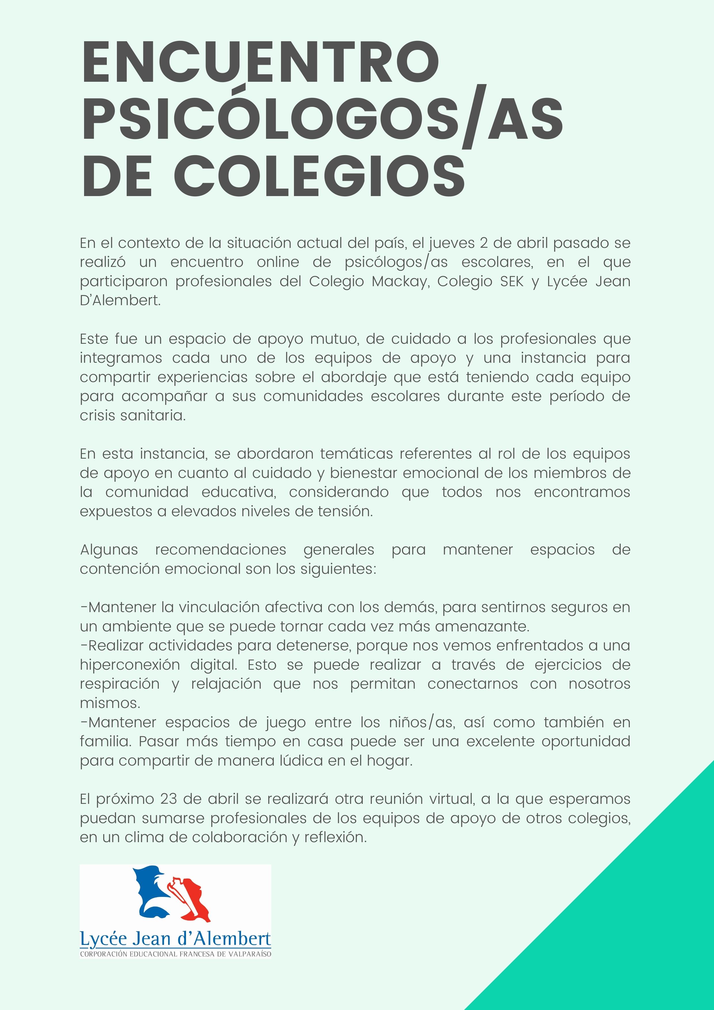 ENCUENTRO PSICÓLOGOS/AS DE COLEGIOS