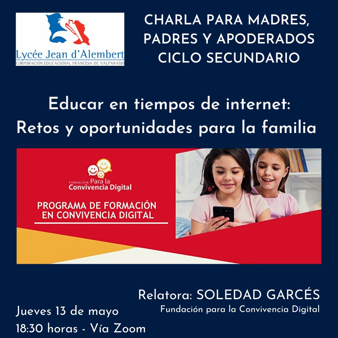 Charla para Madres, Padres y Apoderados Ciclo Secundario / Conférence pour les Parents du Cycle Secondaire