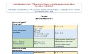 HORAIRES MATERNELLE ET ELEMENTAIRE 2020