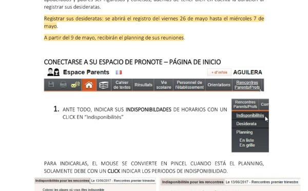 REUNIONES PADRES/PROFESORES: REGISTRAR SUS DESIDERATAS
