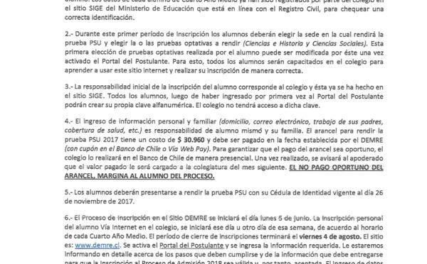 Inscripción PSU - IV MEDIOS