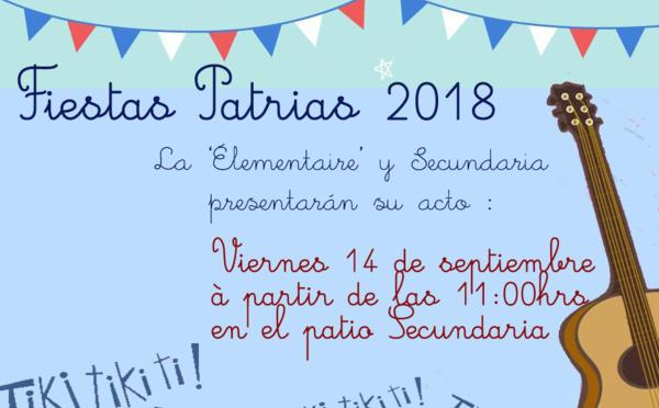 L'Élémentaire et la Secondaire sur le devant de la scène pour les Fiestas Patrias 2018