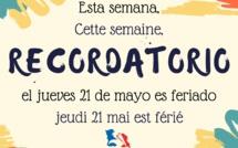 Recordatorio día feriado: Jueves 21 de mayo