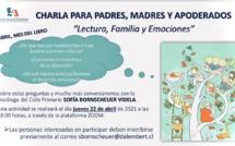 """Invitación a charla """"Lectura, familia y emociones"""", Jueves 22 Abril /Invitation à la rencontre """"Lecture, famille et émotions"""", jeudi 22 avril."""